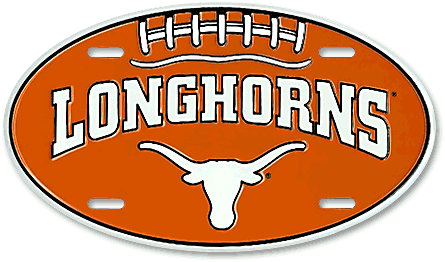 Texas Longhorns custom embossed aluminum oval license plate layout - detail