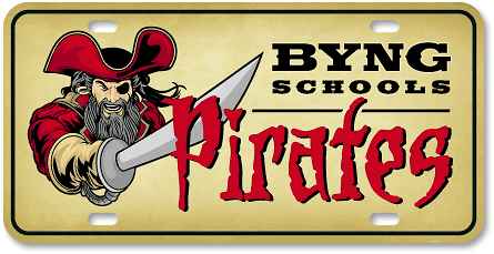 Byng Schools Pirates (Boys) high-gloss plastic license plate design - detail view
