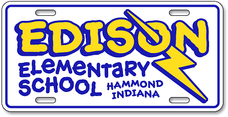Edison Elementary School, (Hammond, IN) custom license plates - detail